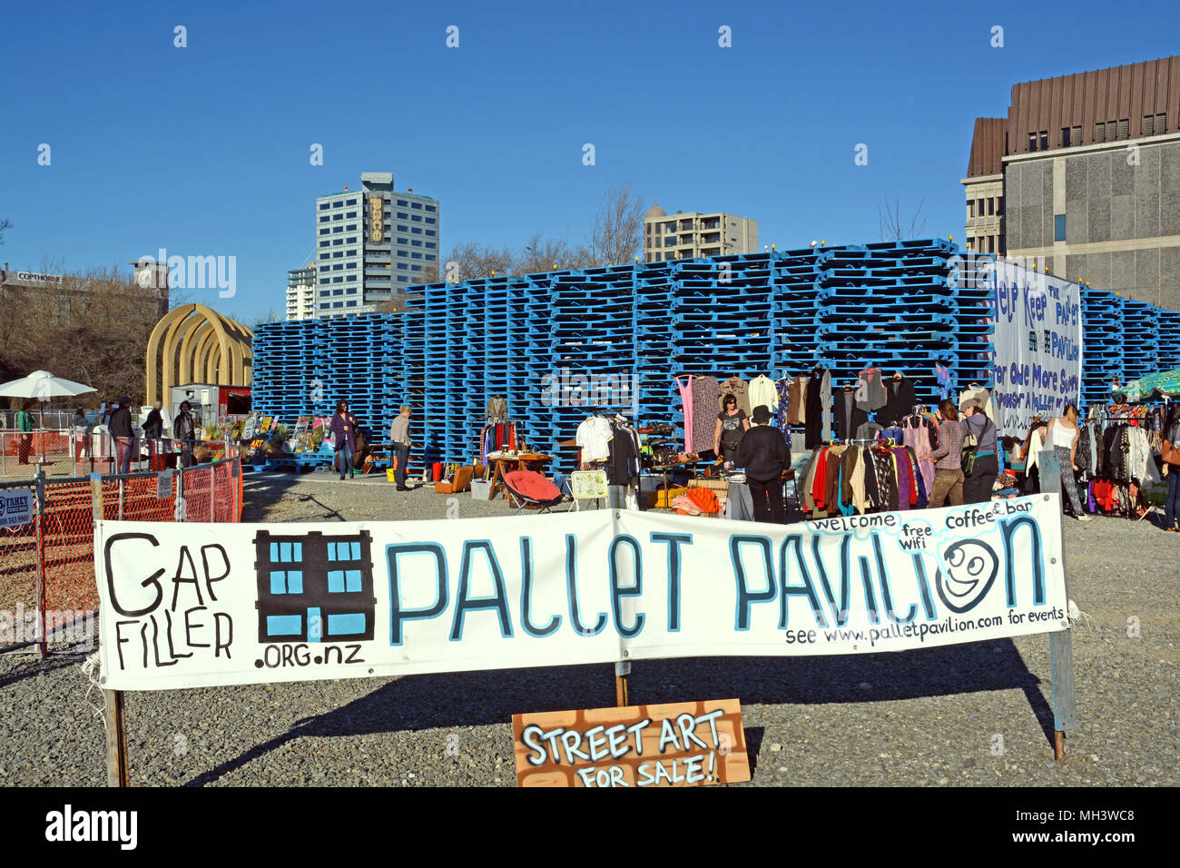 Christchurch, New Zealand - June 08, 2013: A wooden Pallet Pavilion market has been built in central Christchurch on a site previously occupied by sho - Stock Image