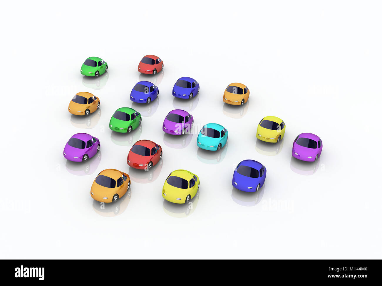 Group of Colored 3d Cartoon Cars - Stock Image