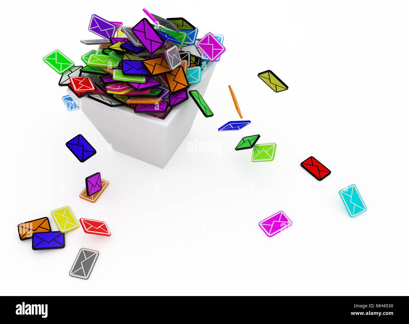 Many Small 3d Email Message Symbols In A Square Bin Isolated Stock