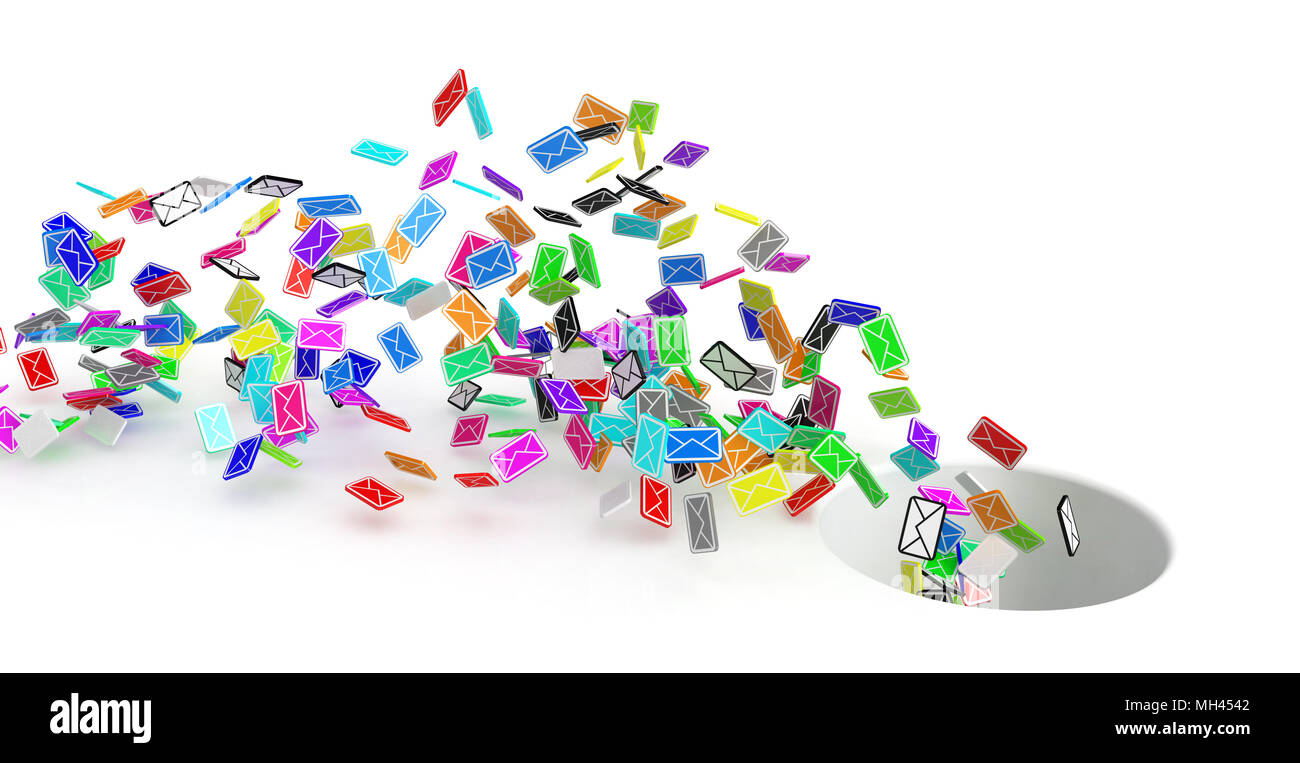 Many small 3d email message symbols, isolated - Stock Image