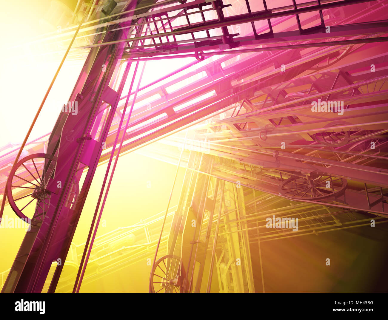 Abstract 3d industrial construction light spectrum illustration background - Stock Image