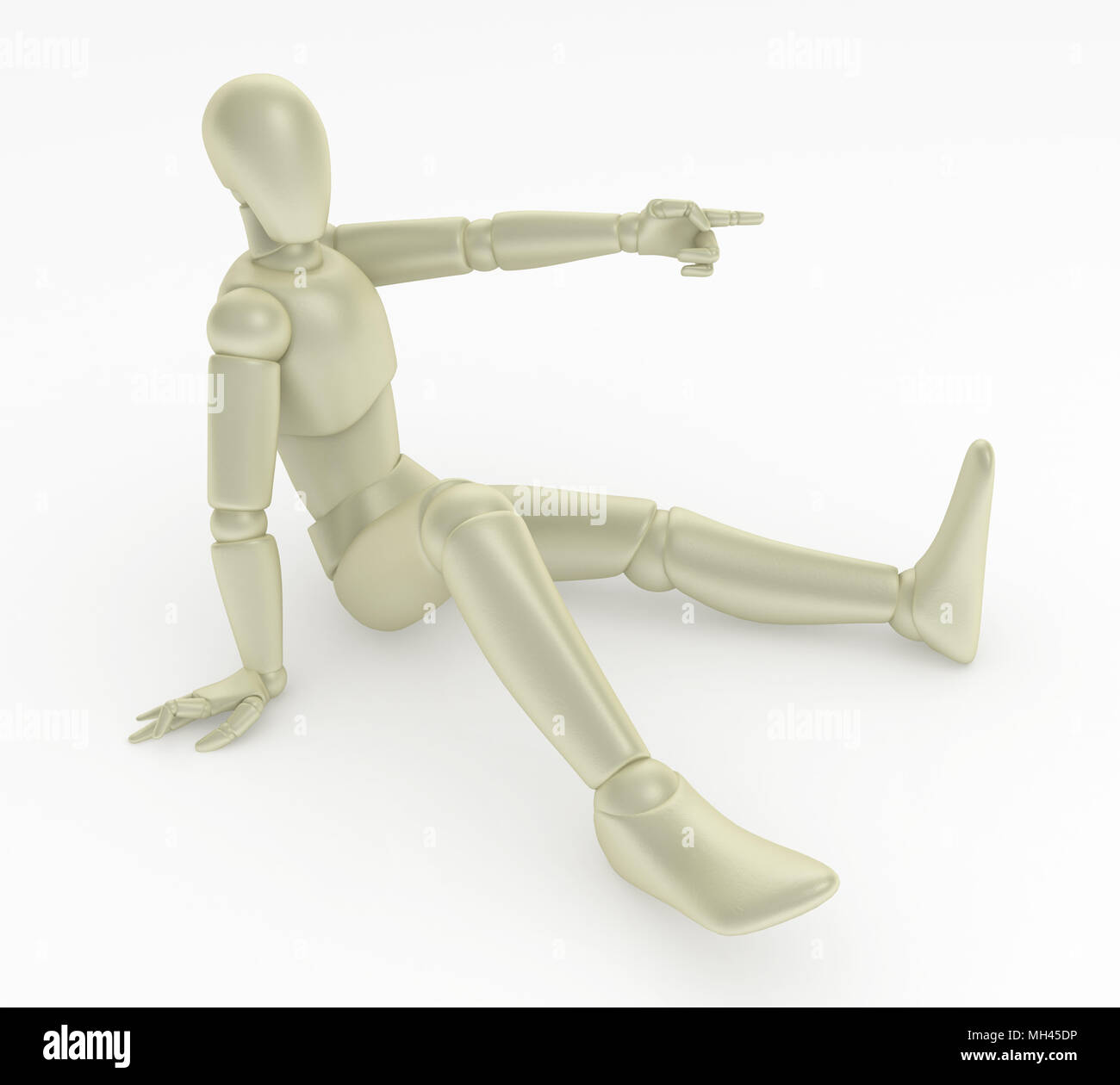 light plastic 3d mannequin figure pointing isolated stock photo