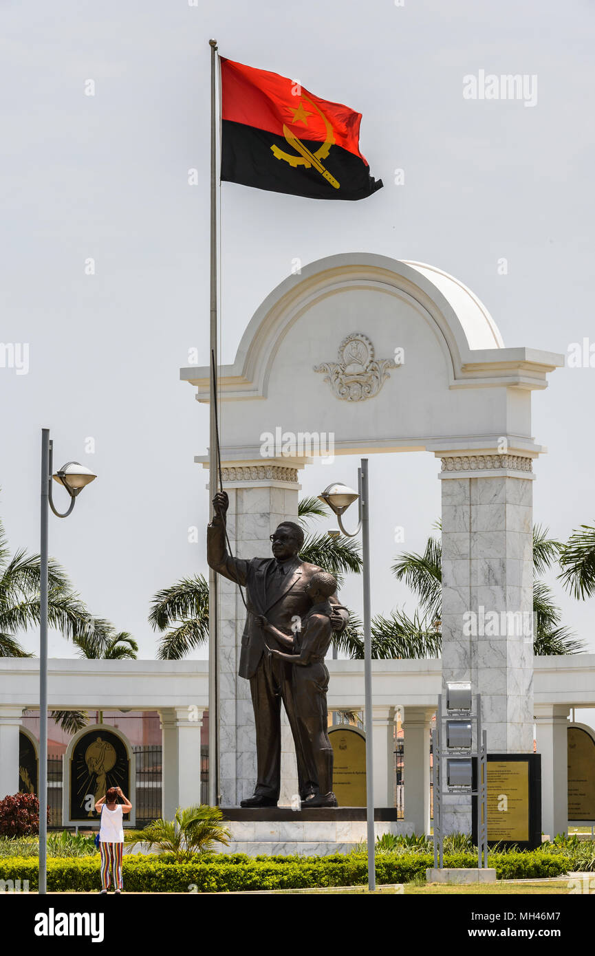 Monument in Luanda and the national flag of Luanda, Angola - Stock Image