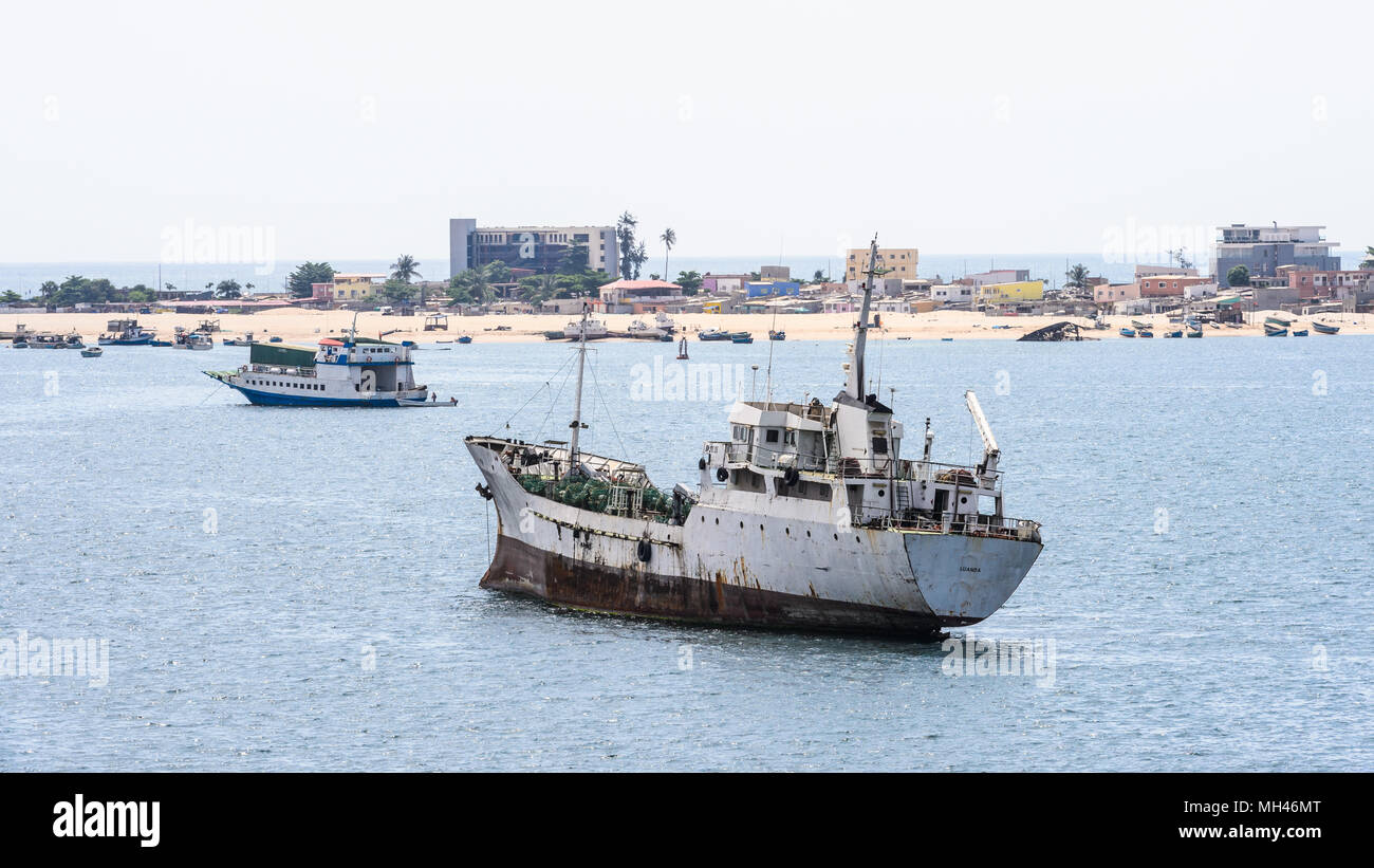Ships on the water near the coast of Luanda, Angola - Stock Image