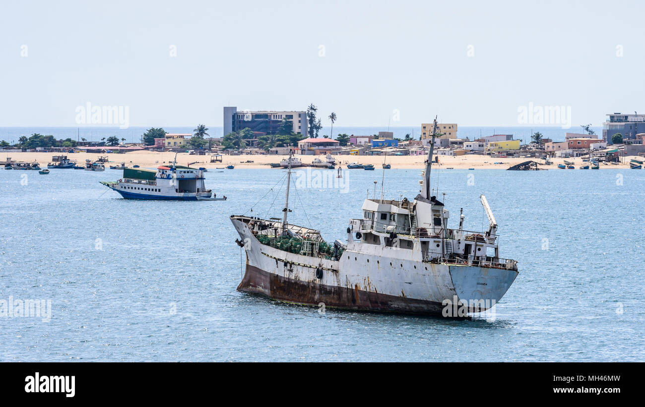 Old tanker in the port of Luanda, Angola - Stock Image
