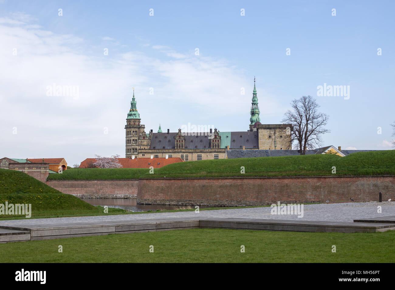 Helsingor, Denmark - April 28, 2018: Exterior view of the historical Kronborg Castle - Stock Image