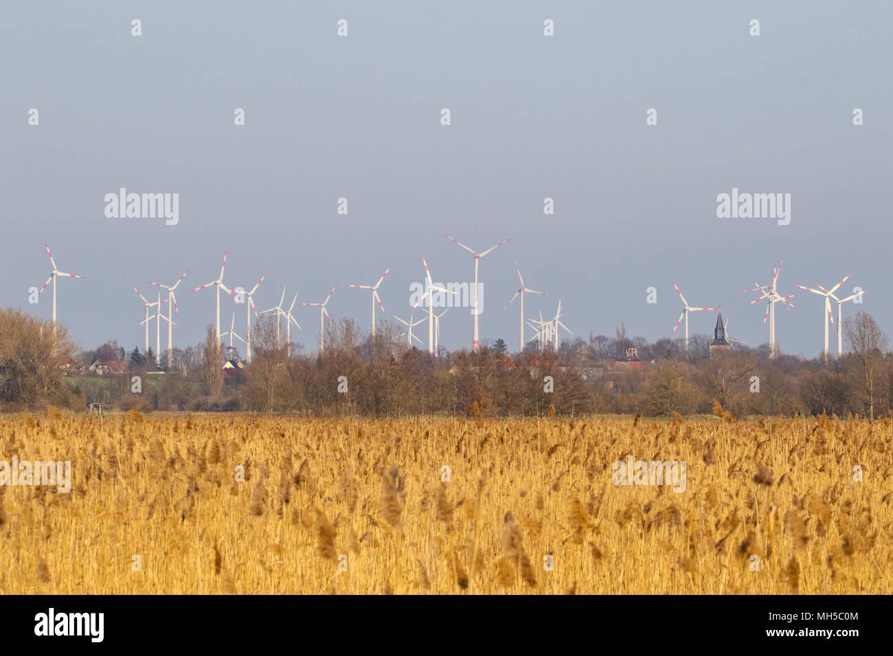 Naturlandschaft trifft auf Windpark - Stock Image