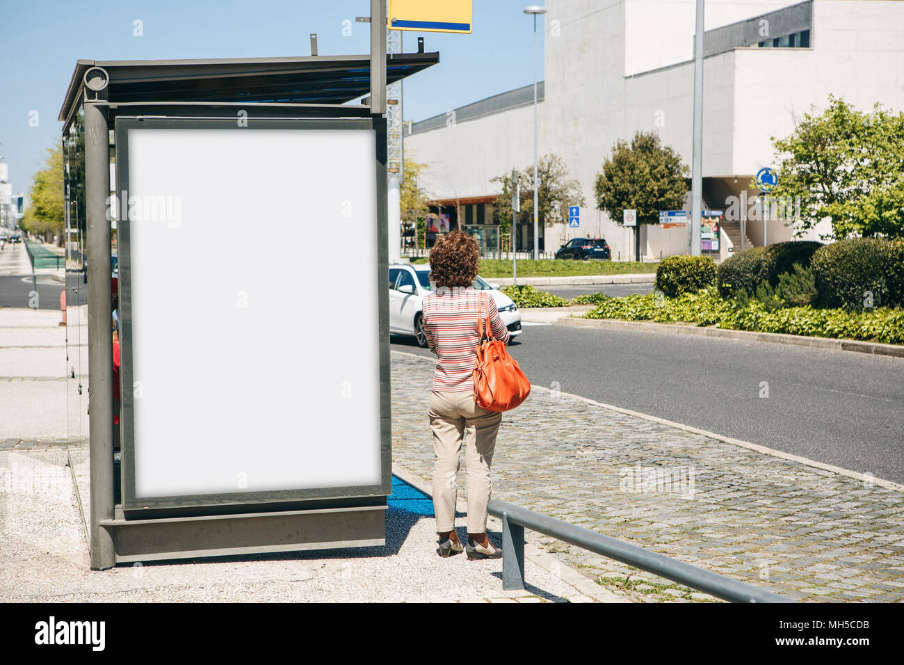 An empty billboard for outdoor advertising in Lisbon in Portugal. Street advertising. - Stock Image
