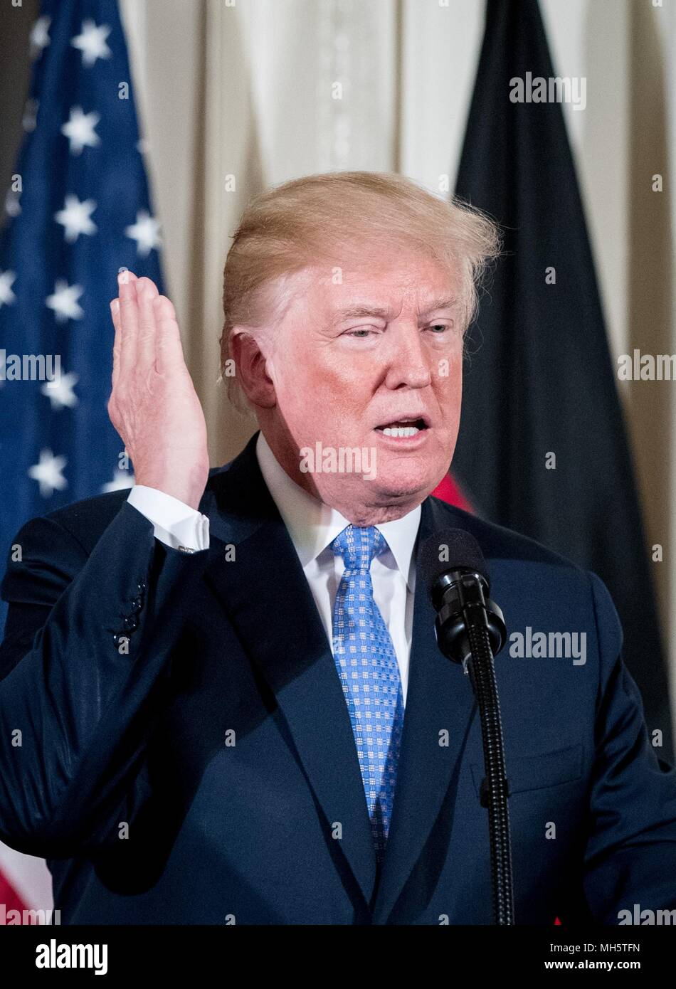27 April 2018, USA, Washington: US President Donald Trump speaks to representatives of the media during a press conference in the White House. Photo: Kay Nietfeld/dpa - Stock Image