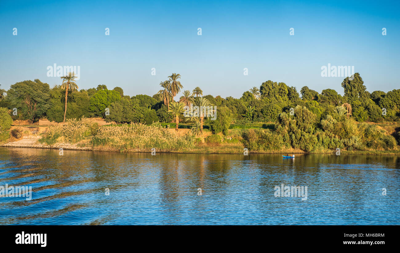 Coast and nature on the coast of the Nile rive in Egypt - Stock Image