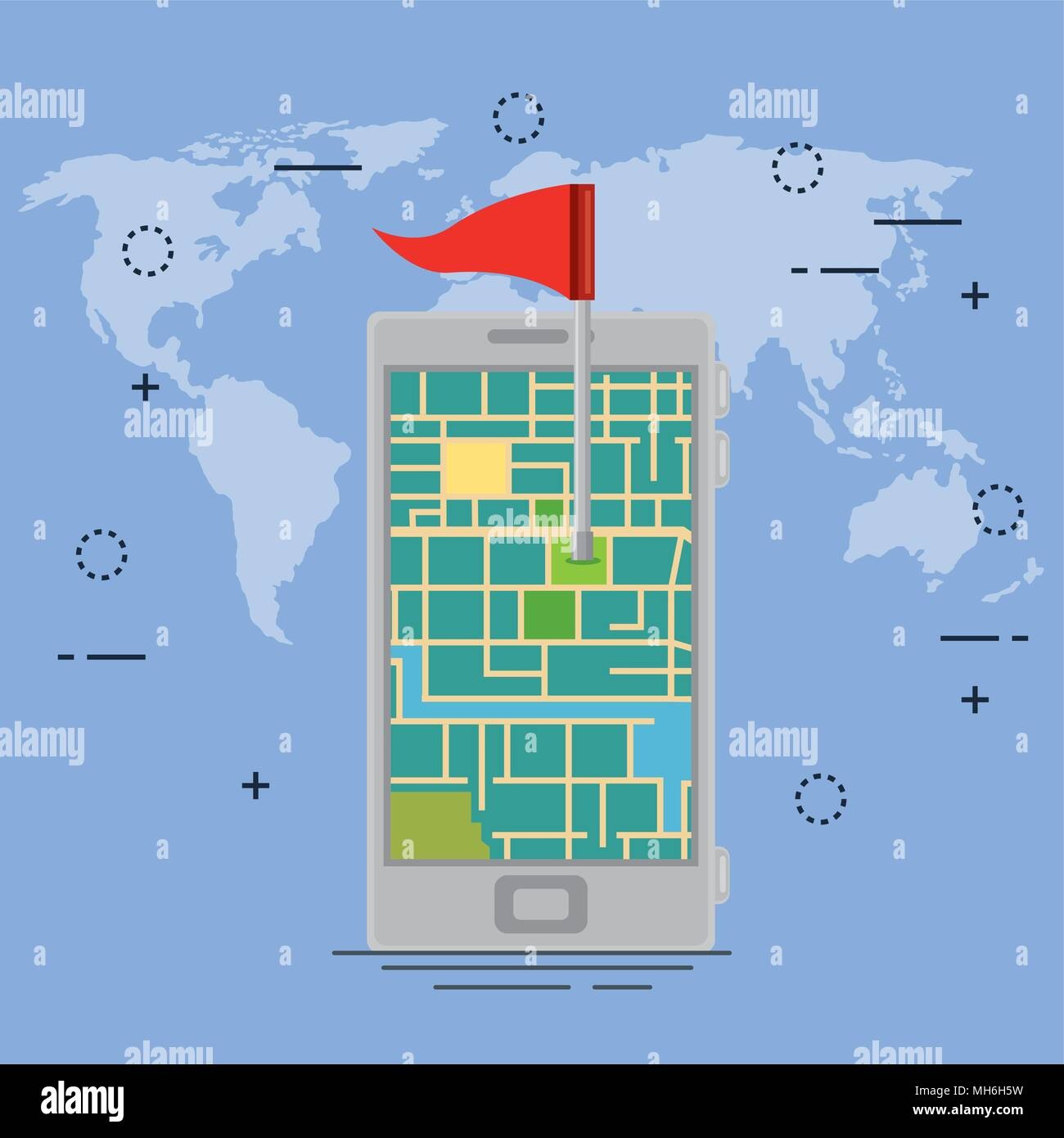 smartphone with gps navigation app Stock Vector