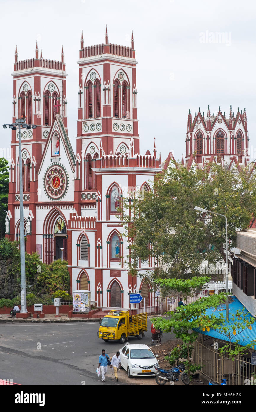 Pondicherry, India - March 17, 2018: The Roman Catholic Basilica of the Sacred Heart of Jesus which dates from the early 20th century - Stock Image
