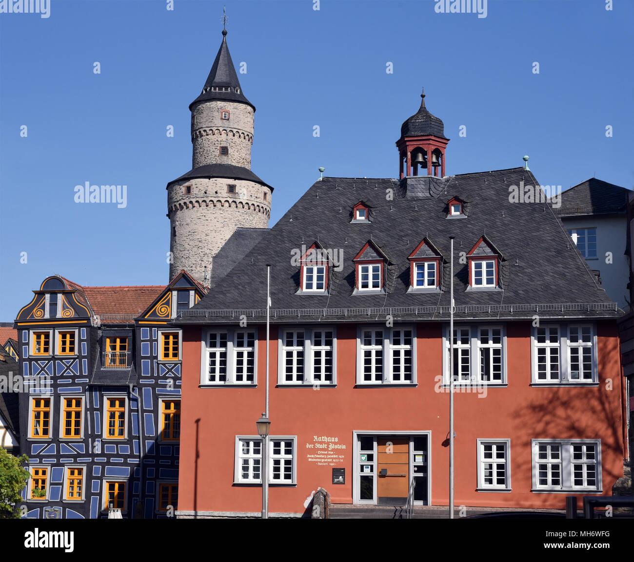 Rathaus, Hexenturm, Bergfried, Das Schiefe Haus, Altstadt, Idstein Stock Photo