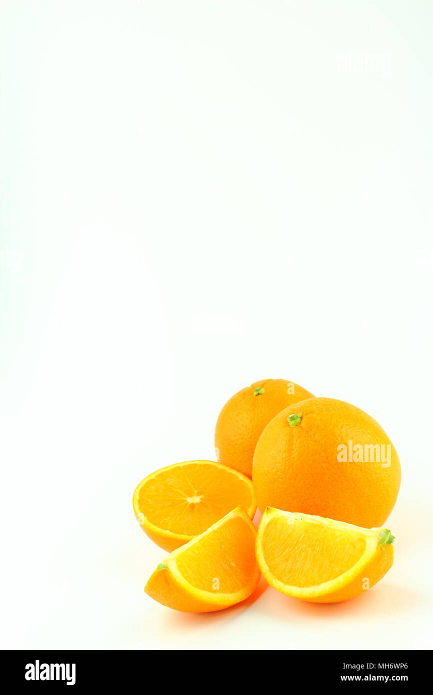 composition of fresh orange fruits isolated on a white background with copy space - Stock Image