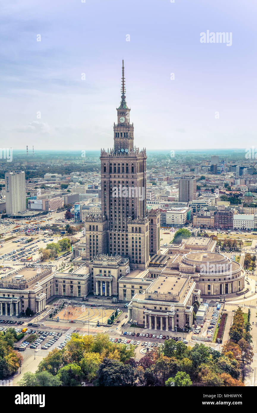 Warsaw / Poland - 09.15.2015: Aerial view on the heart of downtown with Palace of Culture and Science in the middle. Vertical. Stock Photo