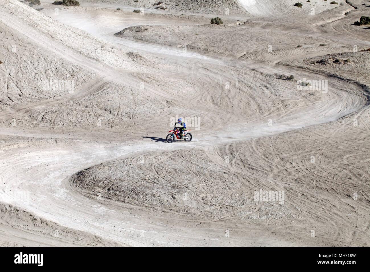 Off-road motorbike, enduro, scrambling, scramble, racetrack on the Sand dunes, near Punta Cuevas, Puerto Madryn. Chubut Argentina. - Stock Image