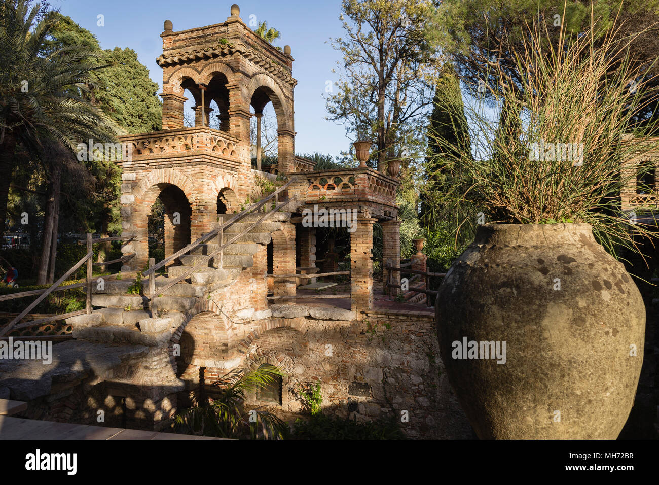 The Beehive building in the city park (Villa Comunale) of Taormina, Sicily. - Stock Image