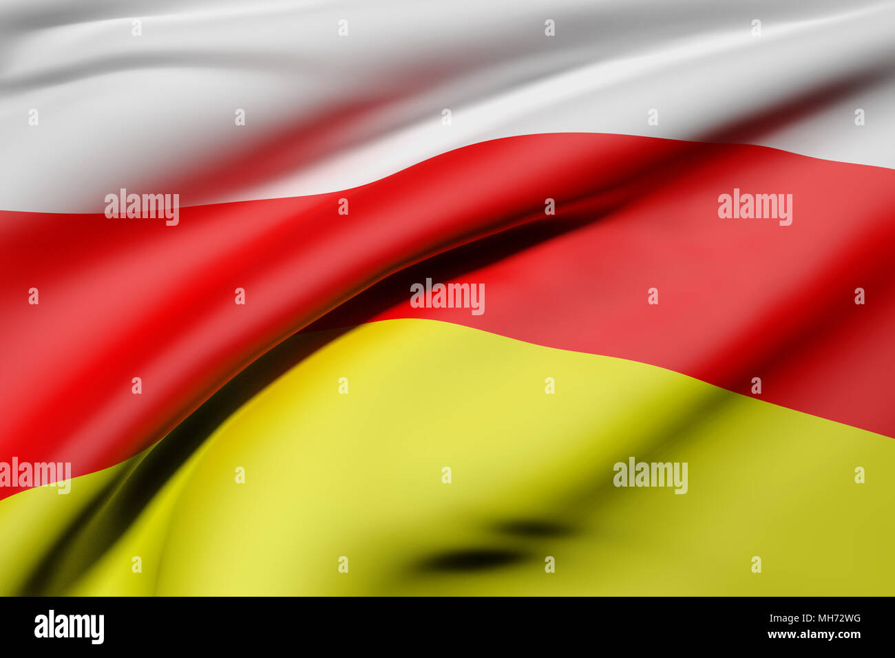 3d rendering of South Ossetia flag waving - Stock Image