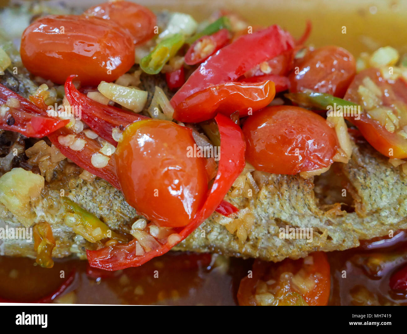 Close Up Image Of Deep Fried Fish With Chili Sauce Pla Rad Prik