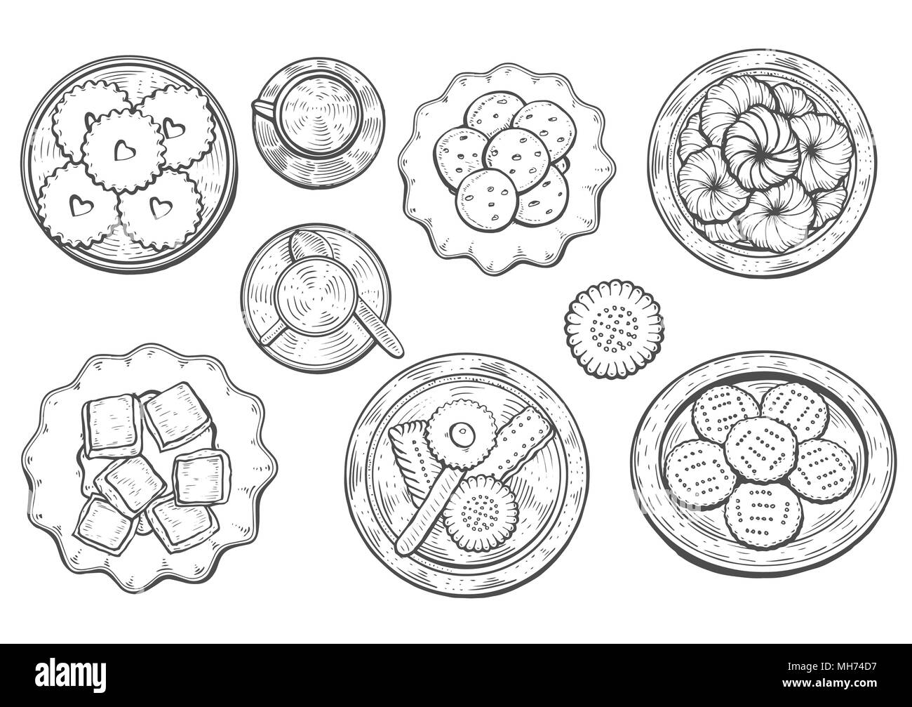 hand drawn. Oriental sweets vector illustration. Middle eastern food. Food menu background. top view. Monochrom design template. - Stock Image