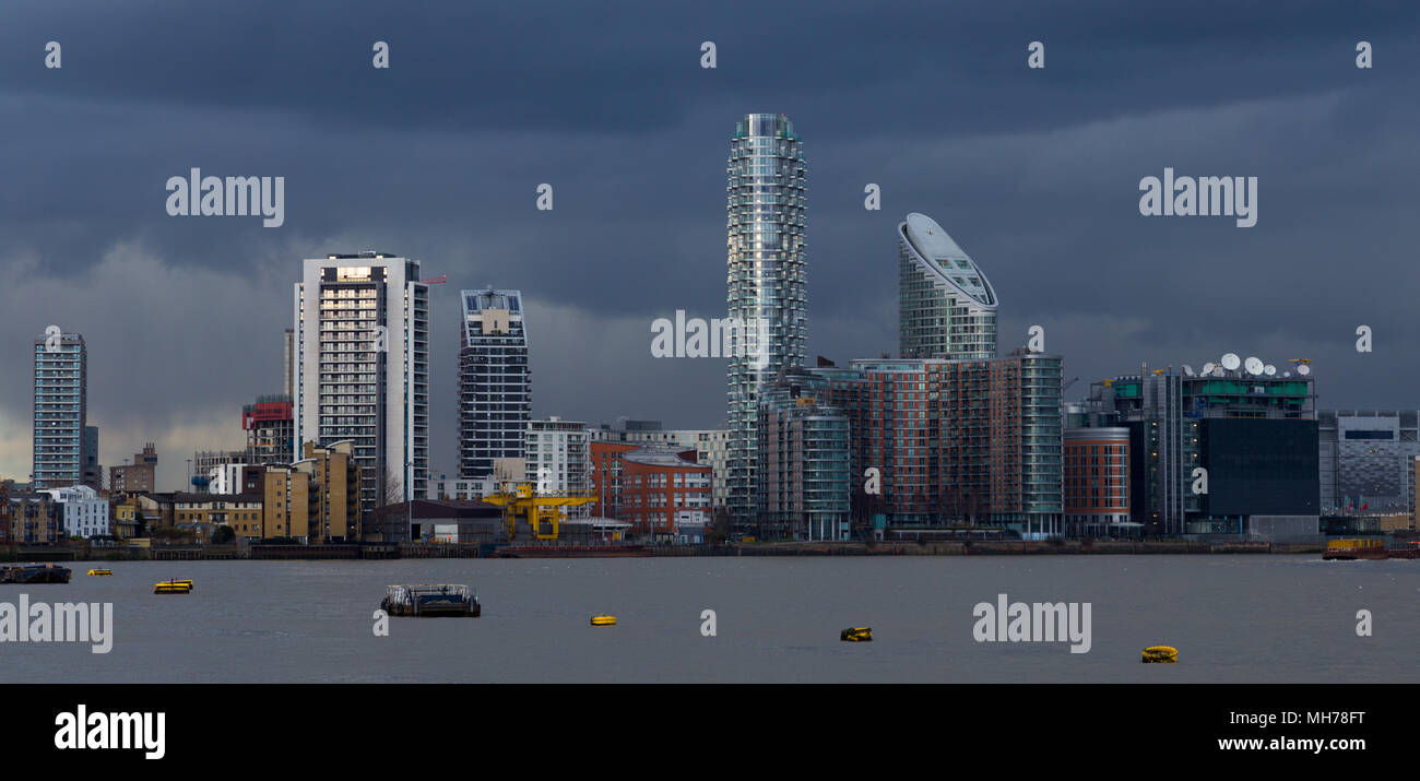 View of East London waterfront near Excel, west Silvertown. Modern City Skyscrapers residential and office. - Stock Image
