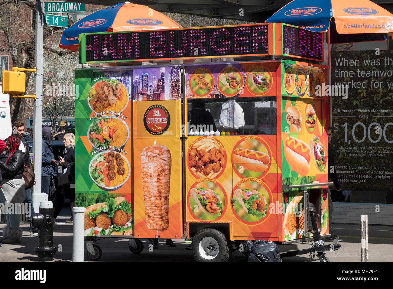 The El Joker Healthy & Delicious Halal food cart on Broadway and East 14th Street in Greenwich Village, Manhattan, New York City. - Stock Image