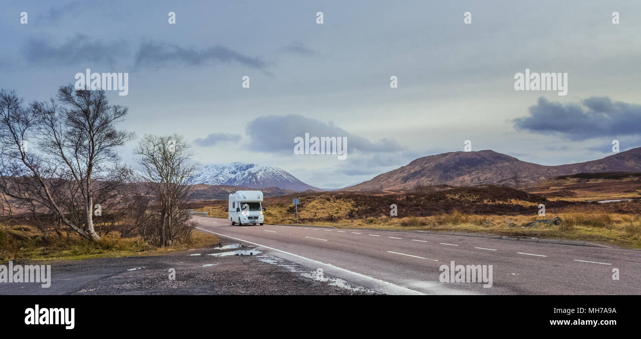 RV Camper Vehicle In Scenic Highlands of Scotland - Stock Image