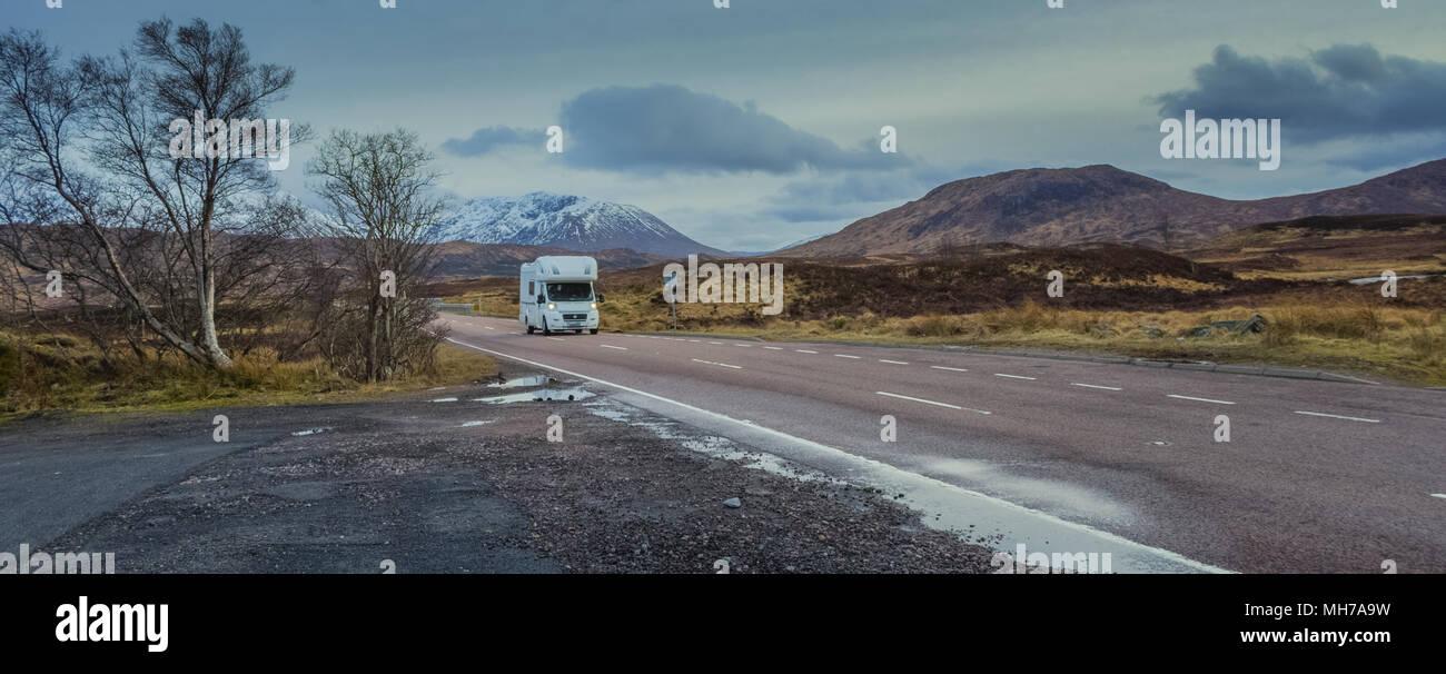 RV Camper In Scottish Highlands - Stock Image