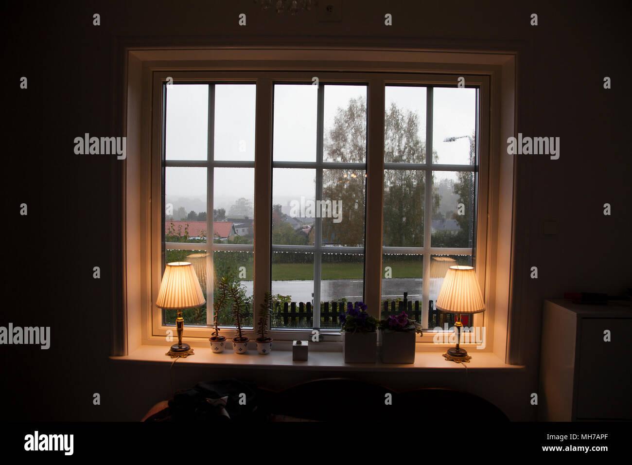 VIEW through windows a rainy day 2017 - Stock Image