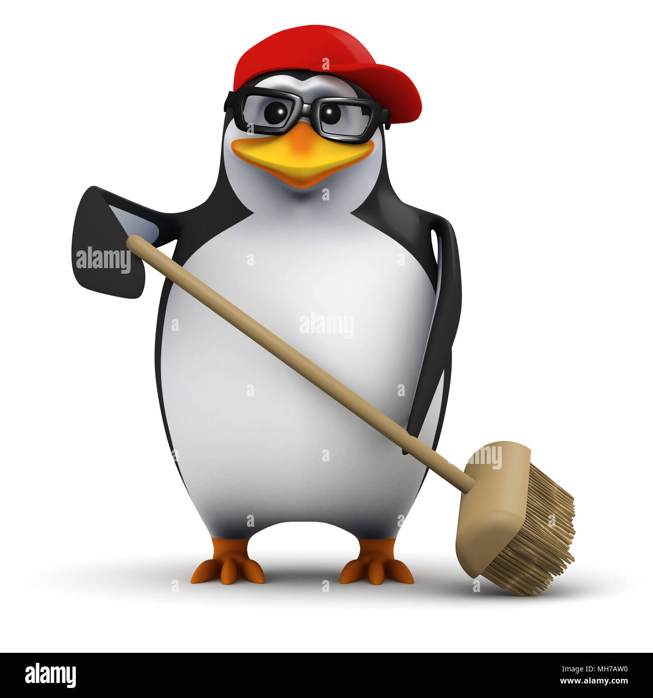3d render of a funny cartoon penguin wearing a baseball cap and sweeping up the mess with a broom - Stock Image