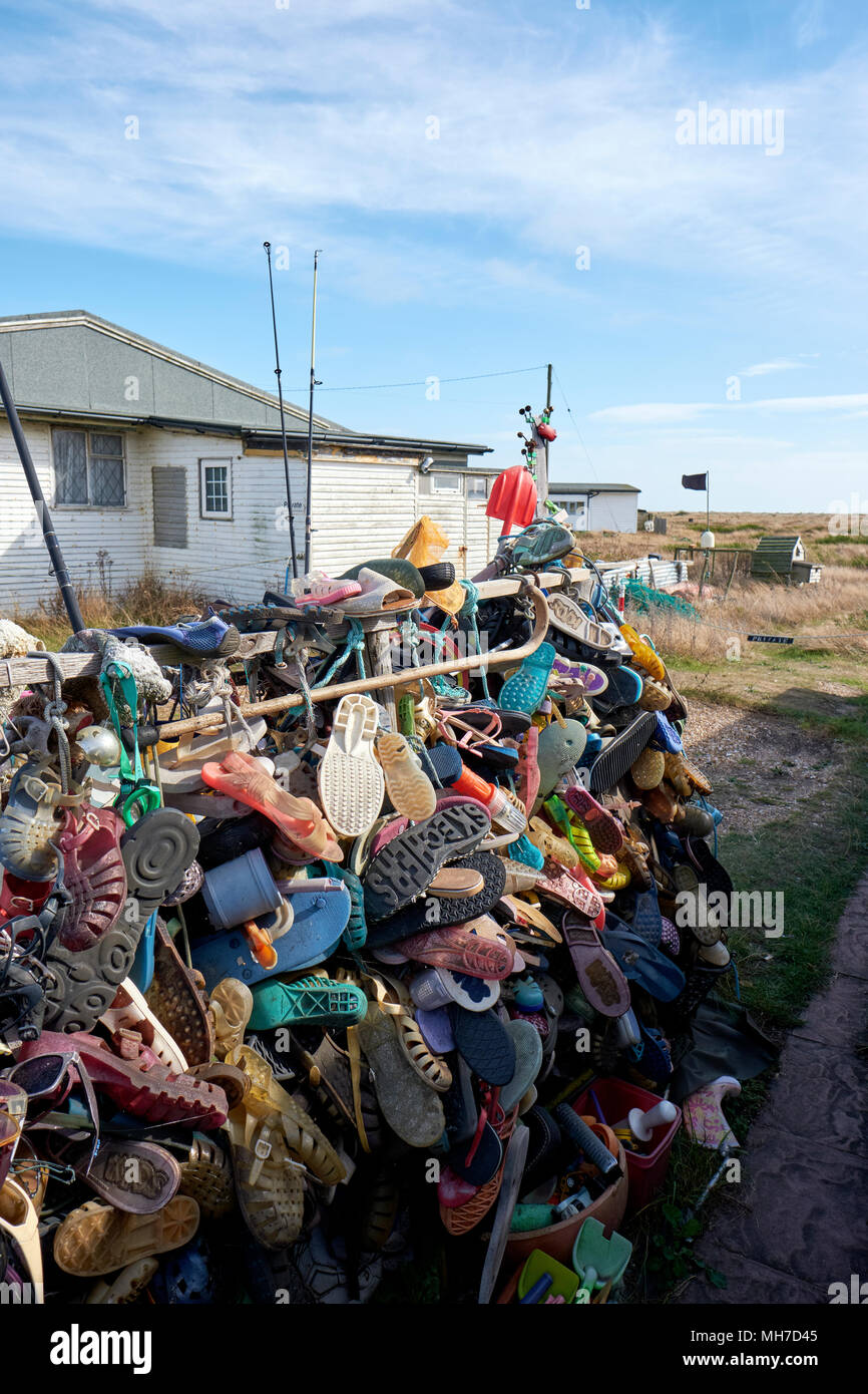 Collected plastic beach debris in Dungeness in Kent England UK - Stock Image