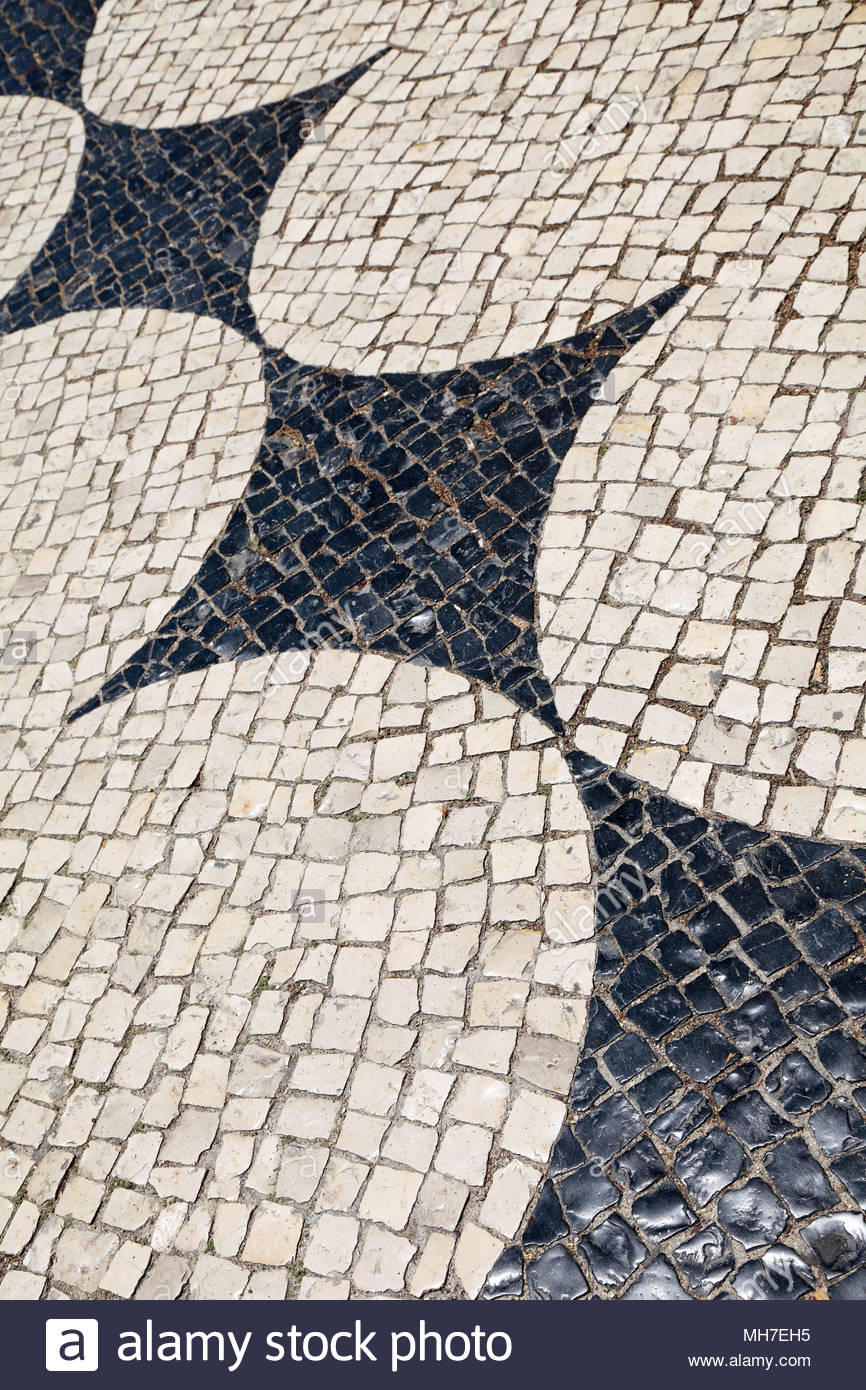 Beautiful pavement in Portugal - Stock Image