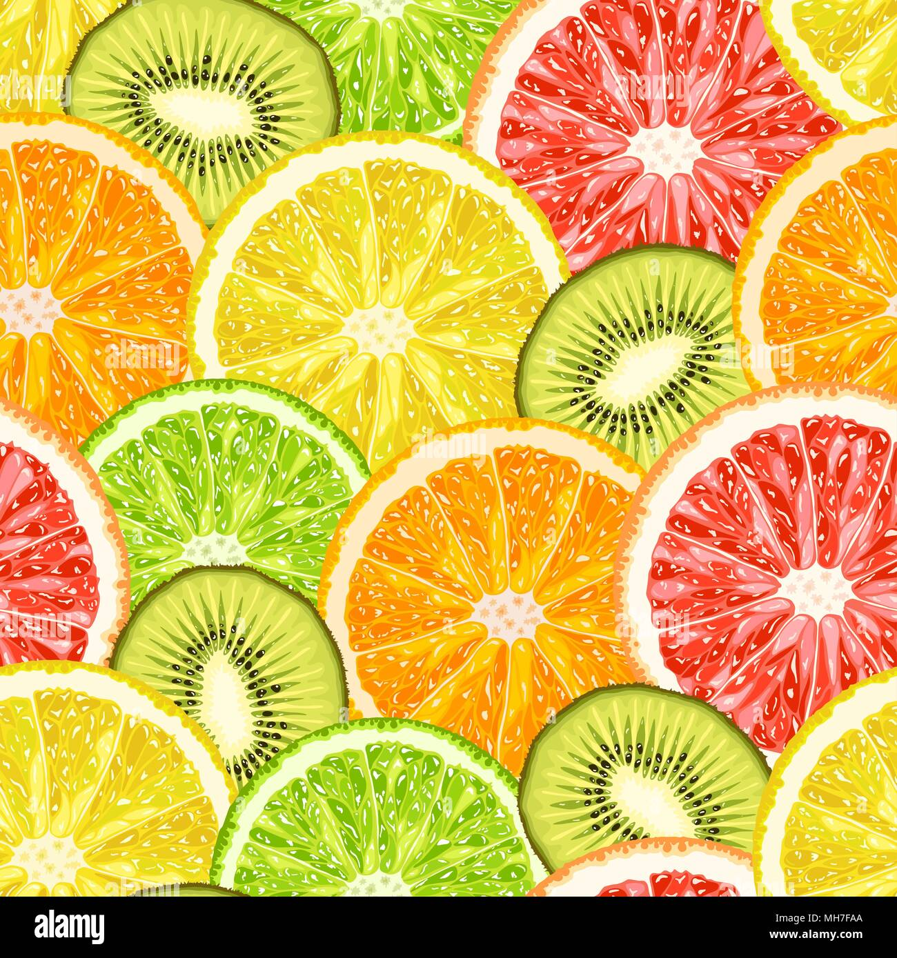 Vector seamless pattern from exotic tropical fruits slices. Lemon, grapefruit, orange, lime and kiwi slices background - Stock Image