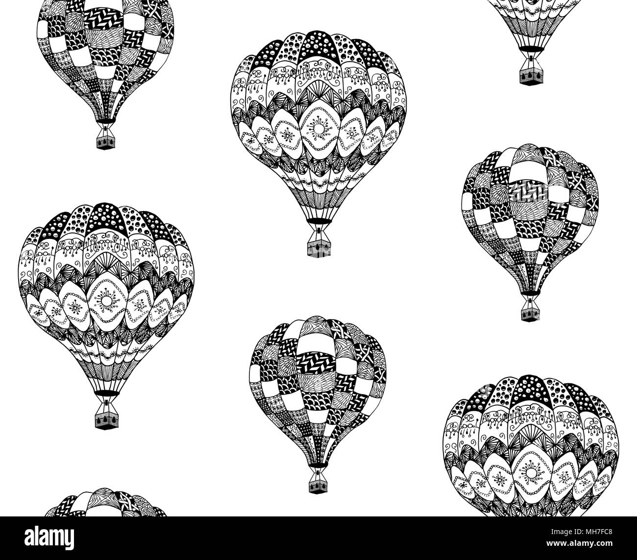 Vector seamless pattern of hot air balloon in zentangle style