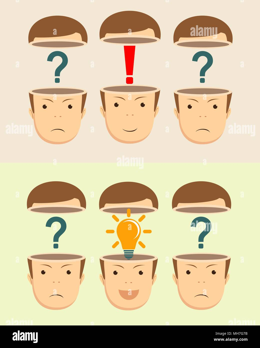 Leadership concept with open heads - Stock Image