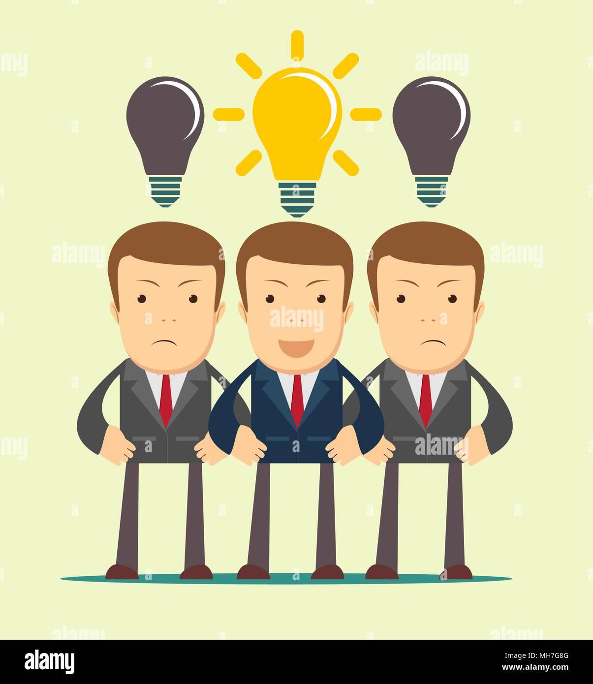 Three hard thinking men. - Stock Vector