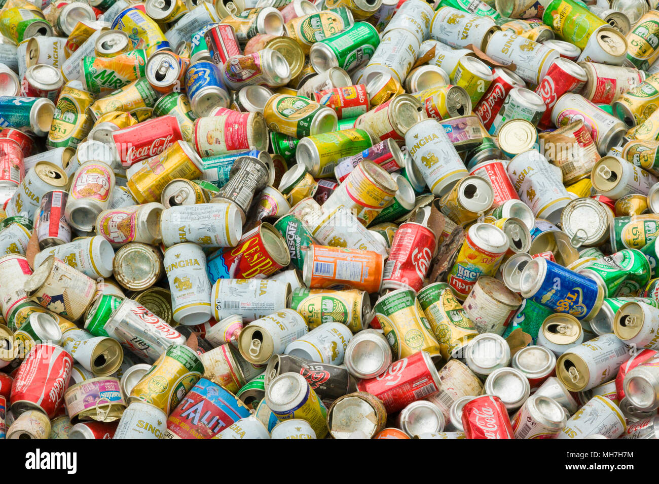 Aluminium cans for recycling, Thailand - Stock Image
