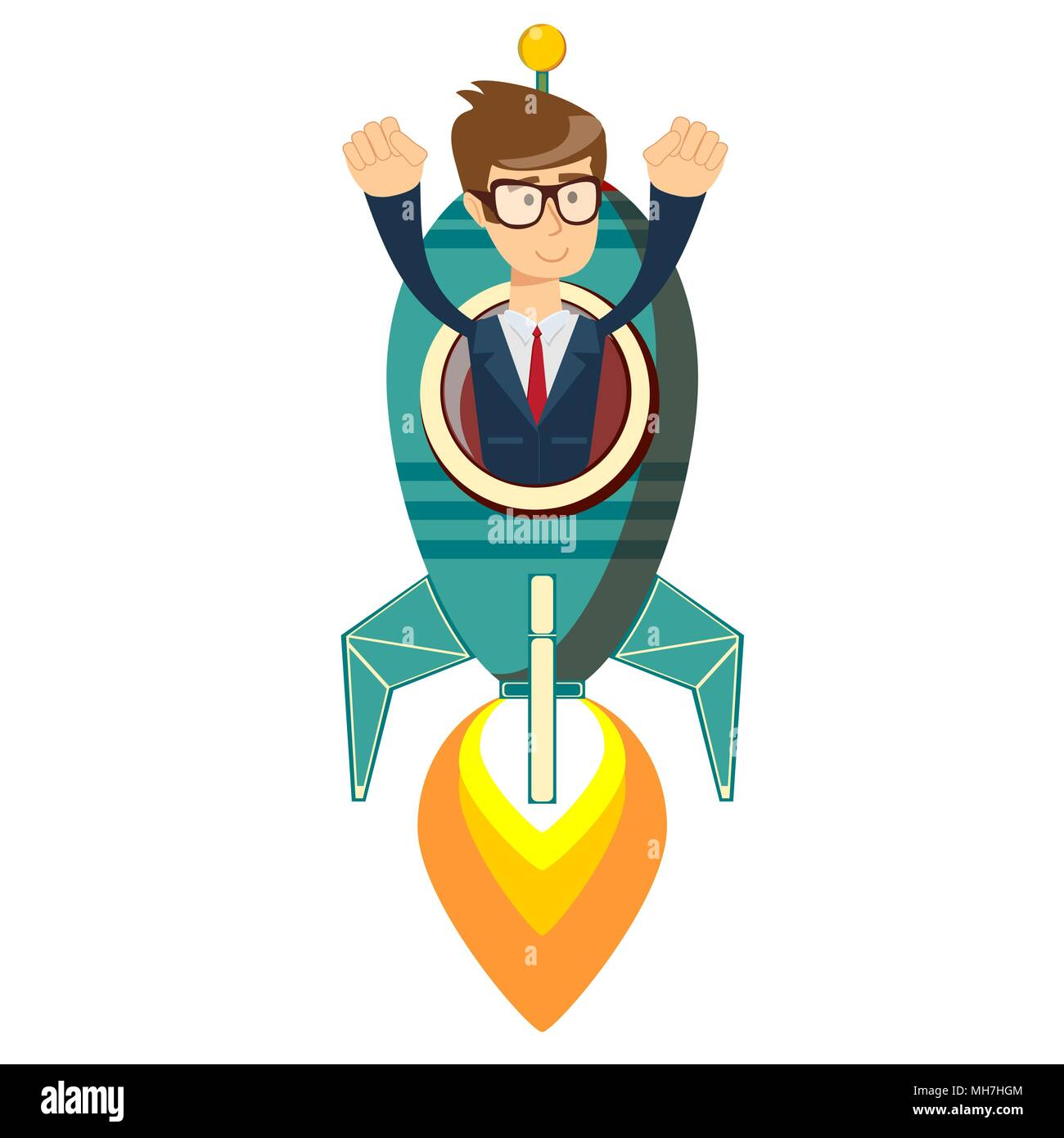 Happy businessman on a rocket ship launch - Stock Image
