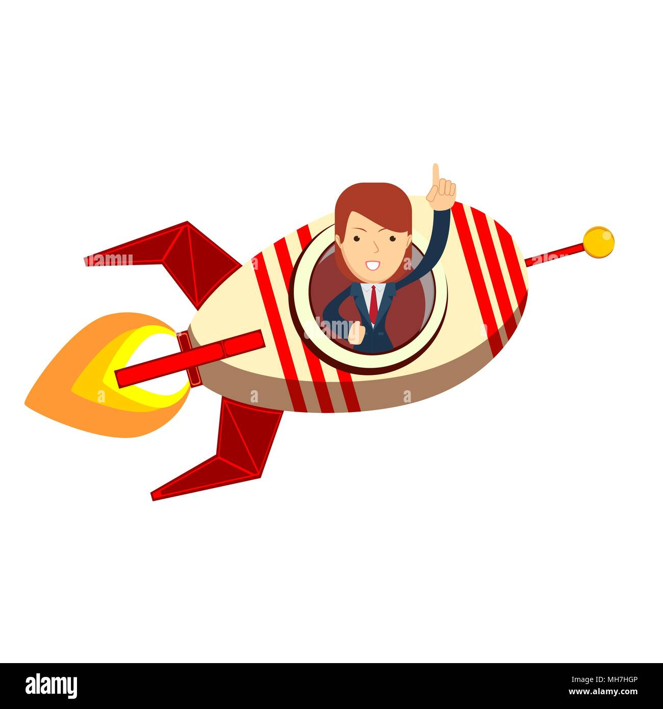 Business woman in a rocket. Business Start up concept. - Stock Vector