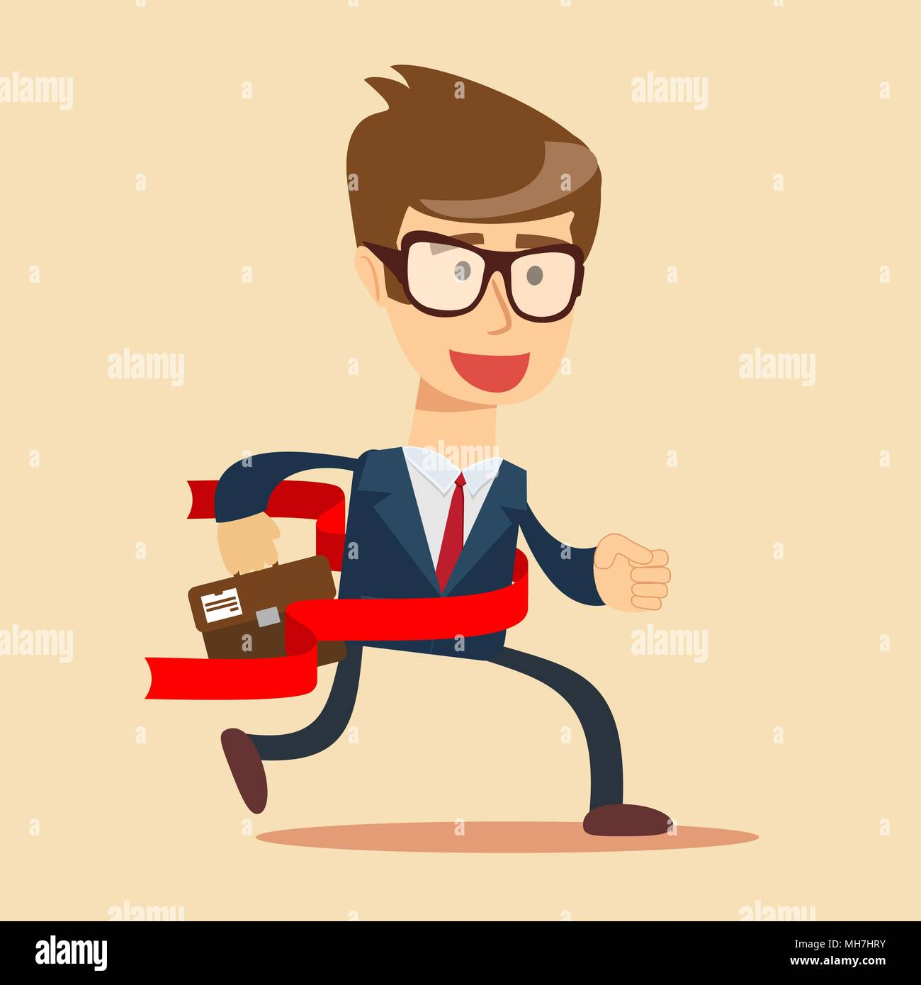 Concept of successful businessman in a finishing line. - Stock Image