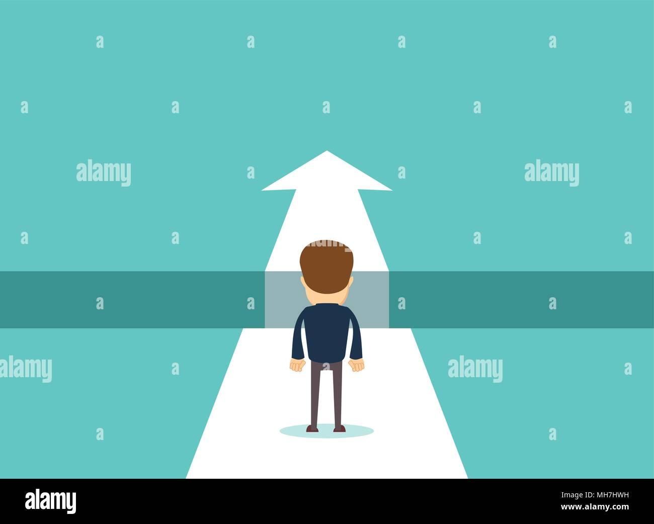 Business challenge concept with businessman walking towards gap. - Stock Image