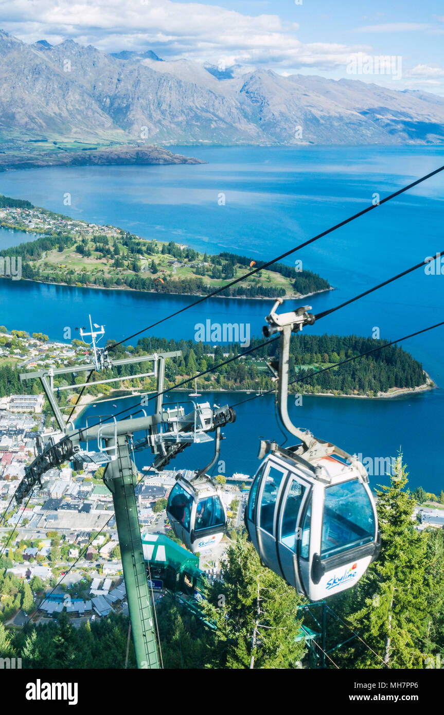 Queenstown South Island new zealand aerial view of  the skyline gondola downtown queenstown town centre lake wakatipu and the remarkables - Stock Image