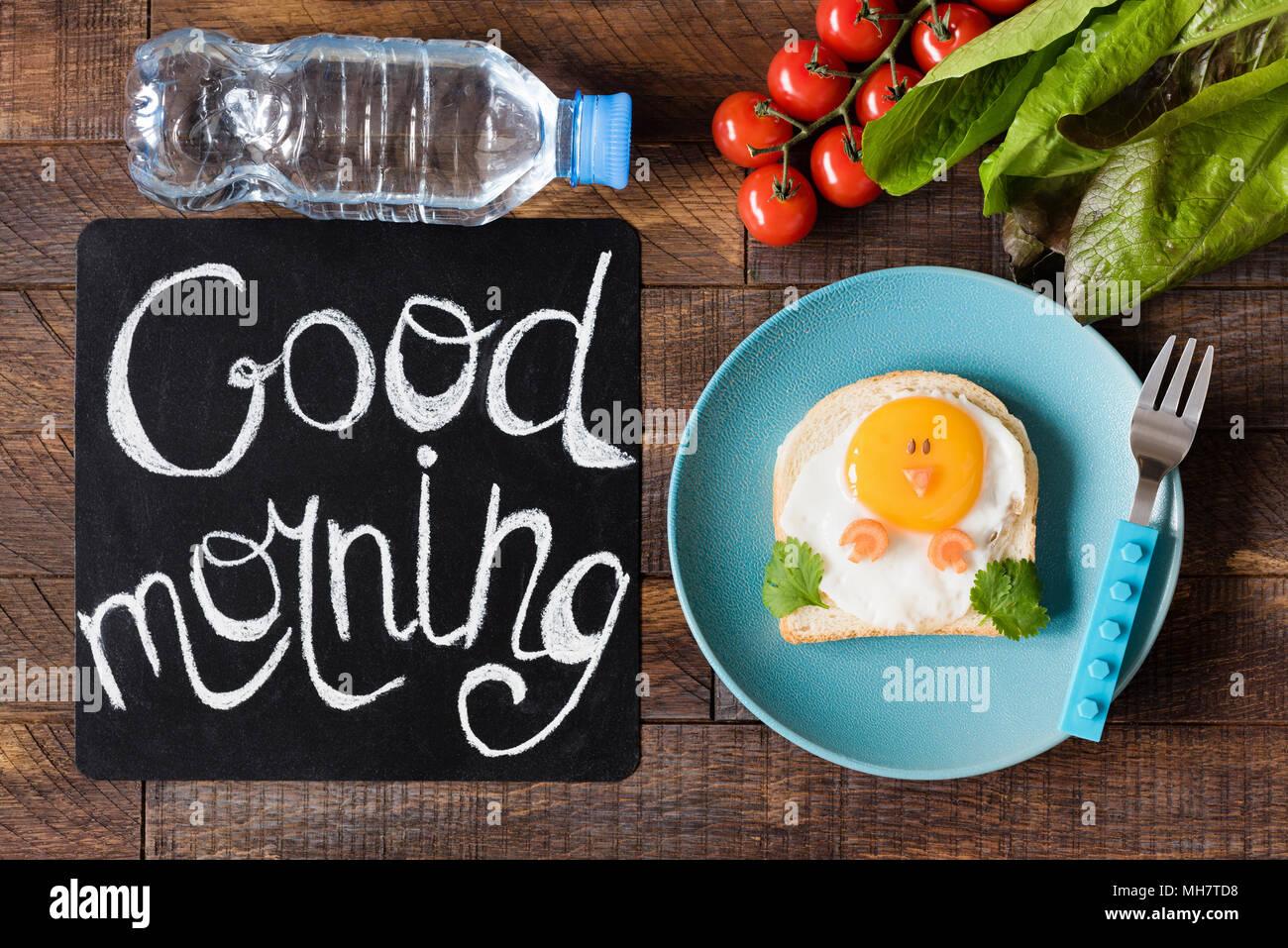 Good Morning Breakfast For Kids. School Lunch Chicken Sandwich Creative Food Art Sandwich. Cute Funny Chicken Shaped Toast For Children. Good Morning  Stock Photo