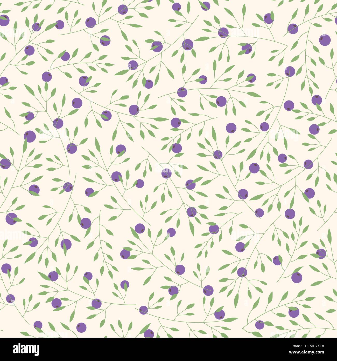 Hand drawn vector floral seamless pattern with branches, leaves and