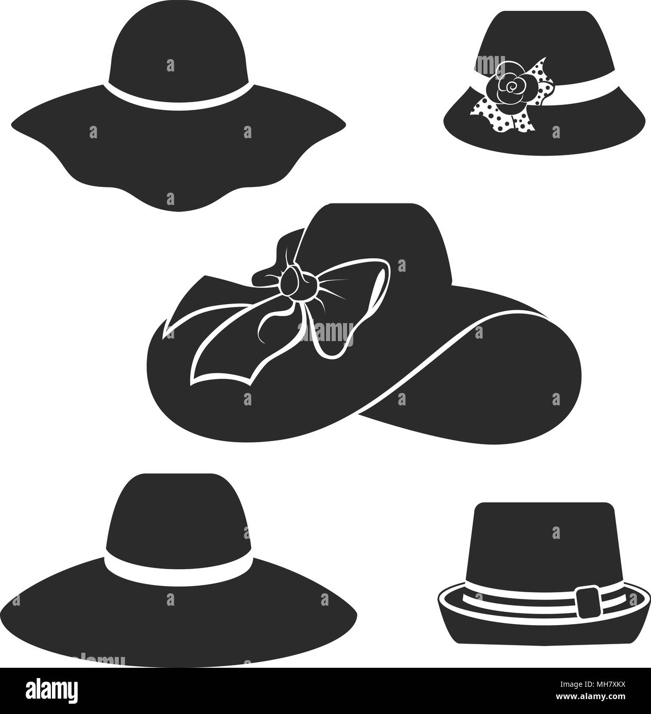 vector black hats icons set - Stock Image
