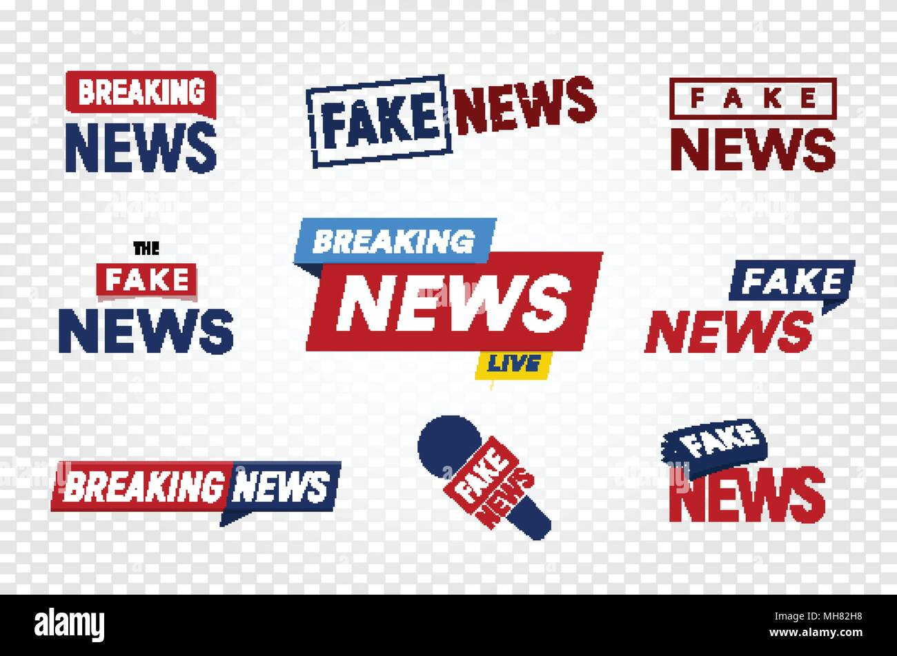 Breaking and fake news logo template on transparent background ...