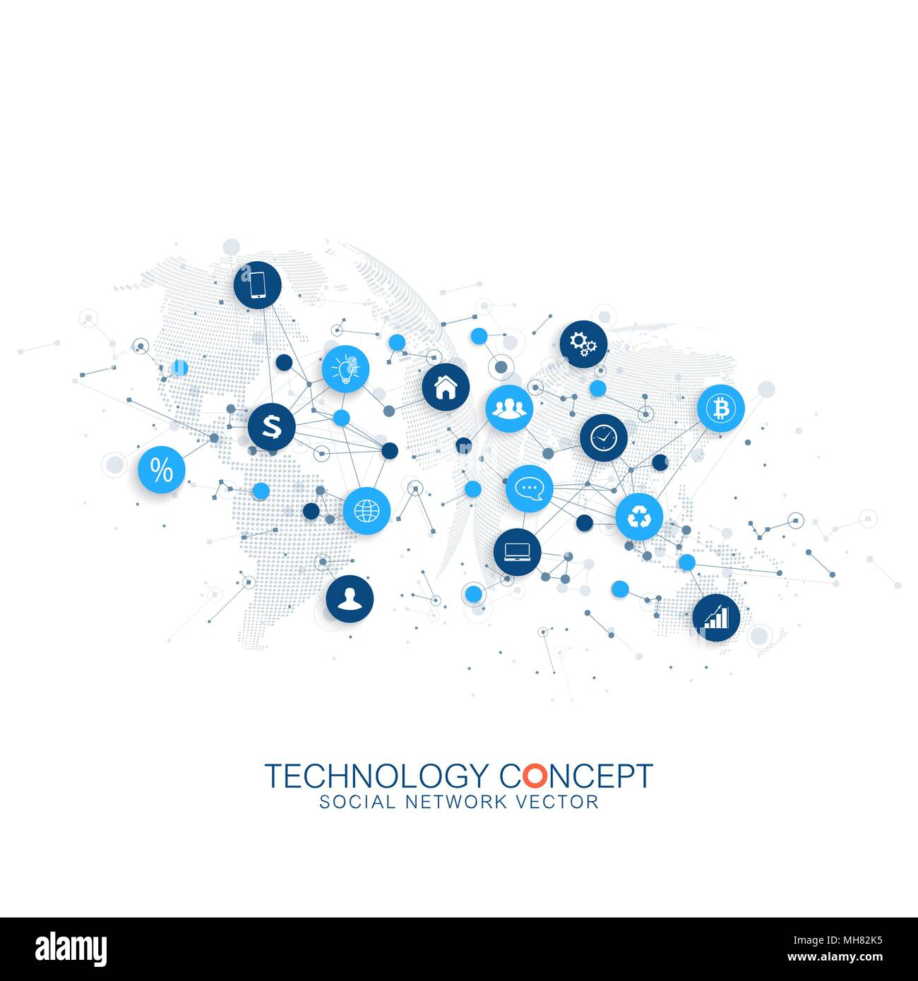 Internet of things IoT and network connection concept design vector. Smart digital concept - Stock Image