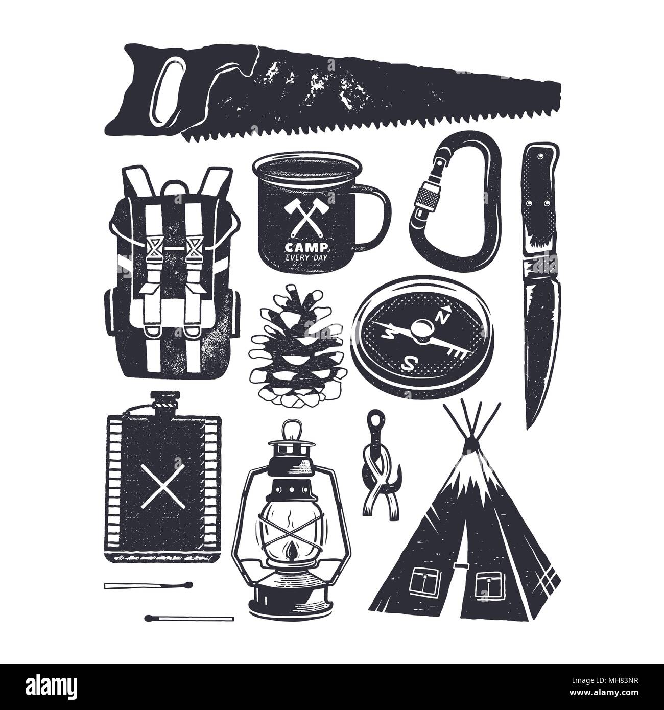 Vintage hand drawn camping symbols. Hiking icons in retro monochrome style. Silhouette mountain adventure elements. Perfect for logo creation, infographics. Stock vector - Stock Vector