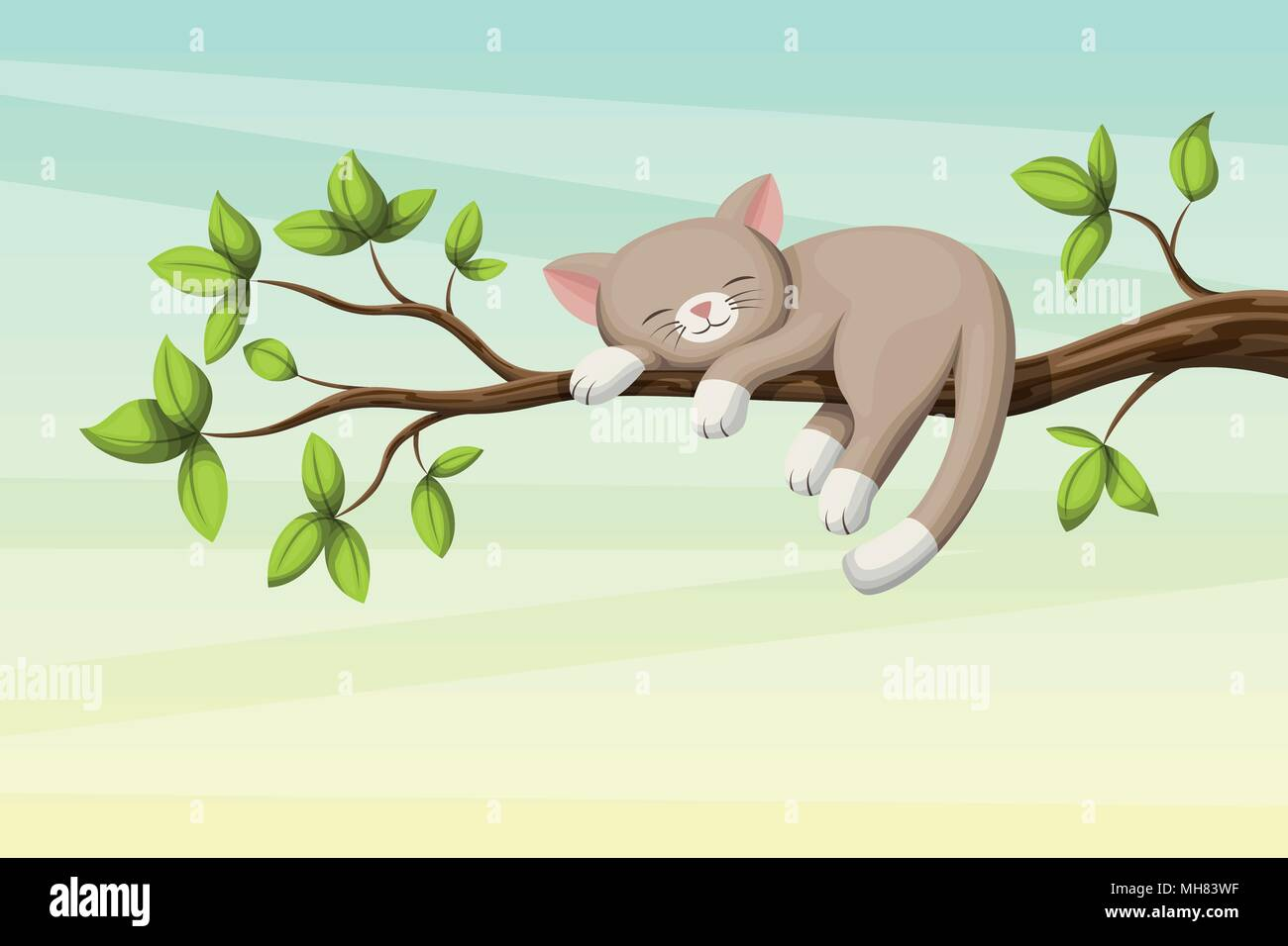 Little Cat ist sleeping on a branch with leaves - Stock Image