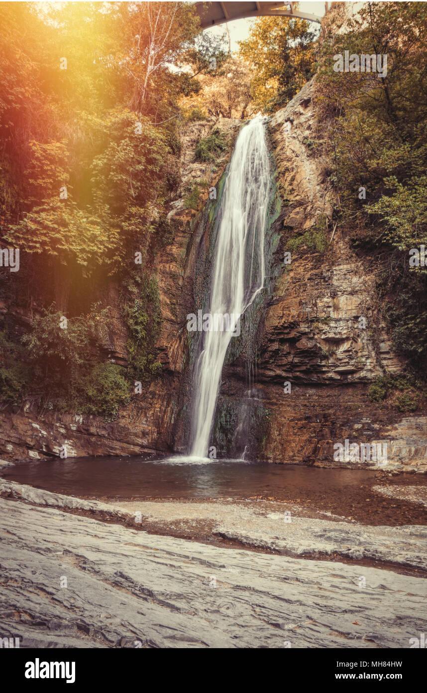 Waterfall in botanical gardens. Tbilisi. Georgia Stock Photo ...